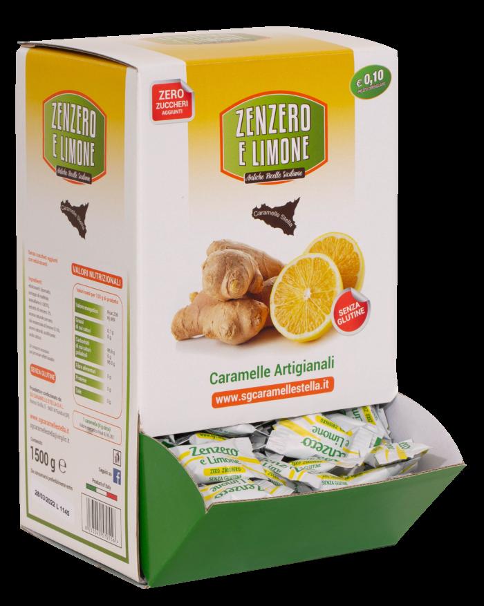 Espositore zenzero e limone senza zuccheri aggiunti